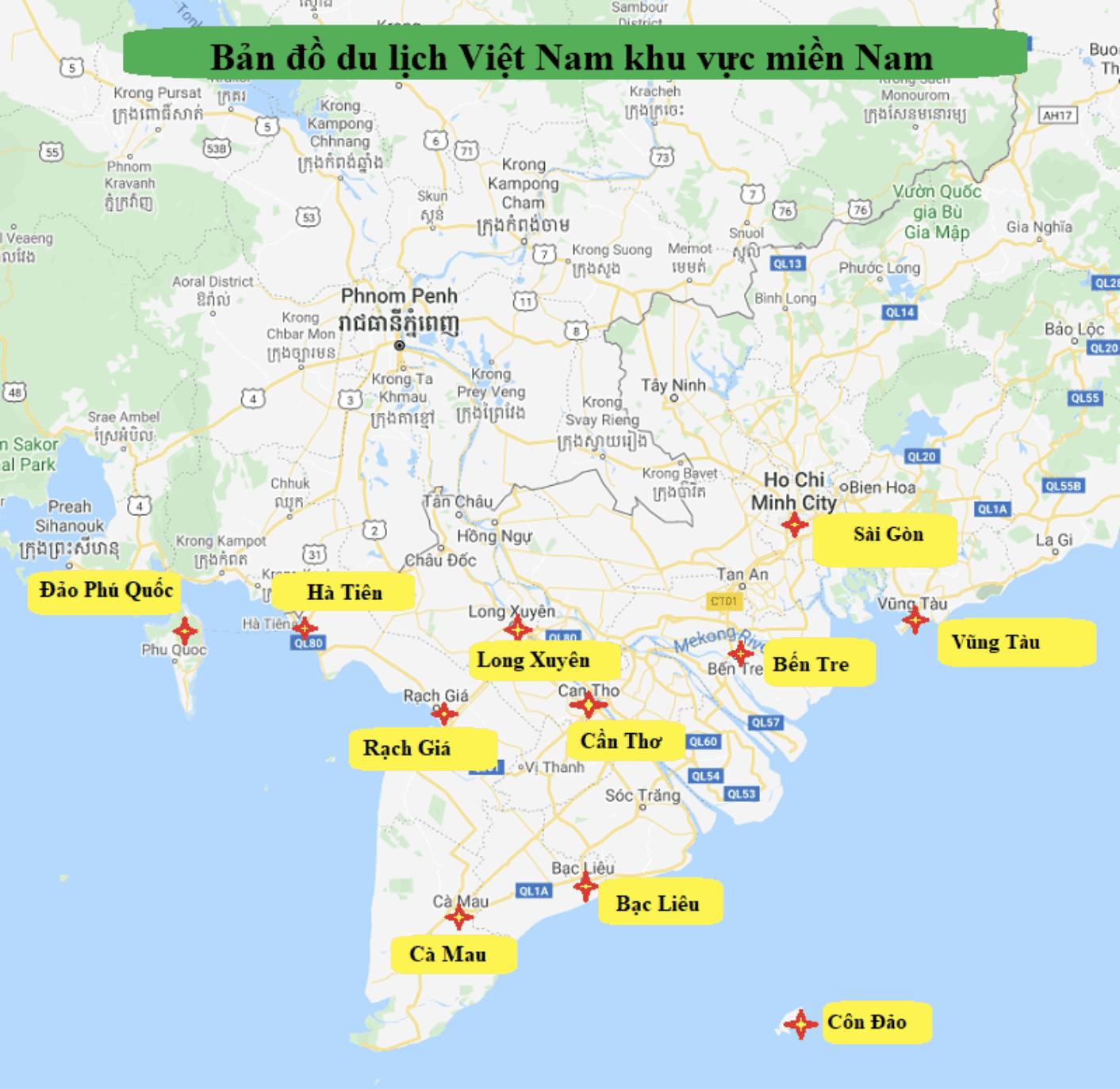 Bản đồ du lịch tuyến điểm Nam Bộ