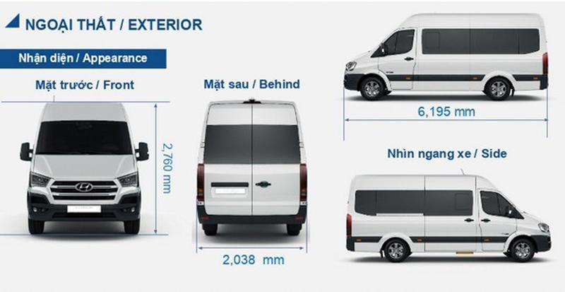 Kích thước xe Hyundai 16 chỗ